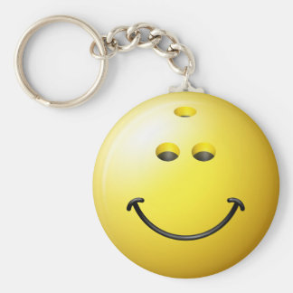 Bowling Ball Smiley Face Keychain