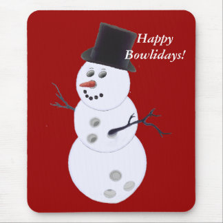 Bowling Ball Snowman Christmas Mouse Pad