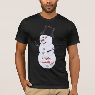 Bowling Ball Snowman Christmas T-Shirt