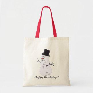 Bowling Ball Snowman Christmas Tote Bag