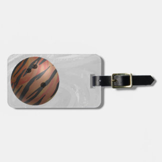 Bowling Ball Tiger Orange Luggage Tag