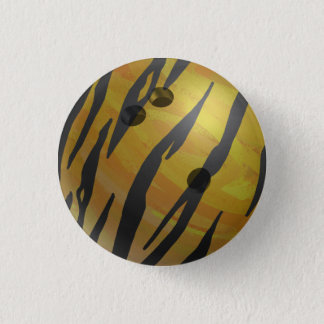 Bowling Ball Tiger Yellow Pinback Button
