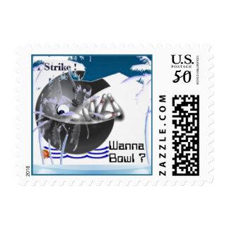 Bowling ball whale fish strike postage