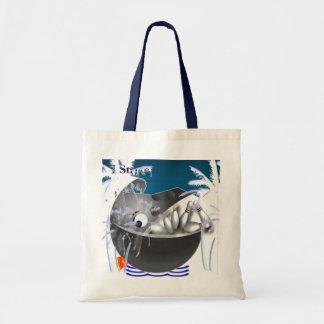 Bowling ball whale fish strike tote bag