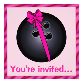 Bowling Ball with Bow Birthday Invitation