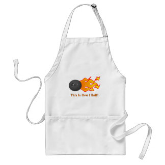 Bowling Ball With Flames Adult Apron