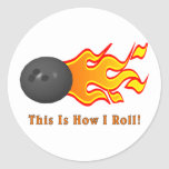 Bowling Ball With Flames Round Stickers