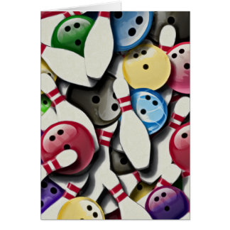Bowling Balls and Pins Collage Greeting Card