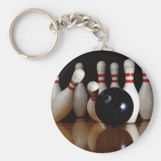 Bowling Basic Round Button Keychain