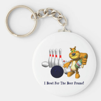 Bowling Beer Frame Basic Round Button Keychain