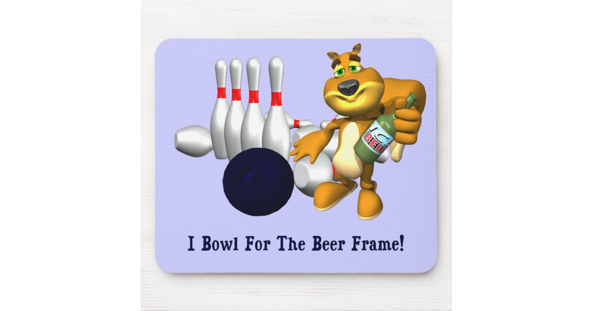 Bowling Beer Frame Mouse Pad | Zazzle.com