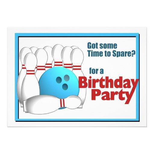 Bowling Birthday Personalized Invitation