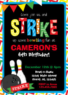 Bowling invitations 1000 bowling announcements invites bowling birthday invitation bowling chalkboard card stopboris Image collections