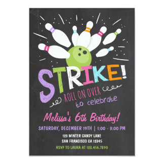 Bowling Birthday Invitation Pink Purple Girl