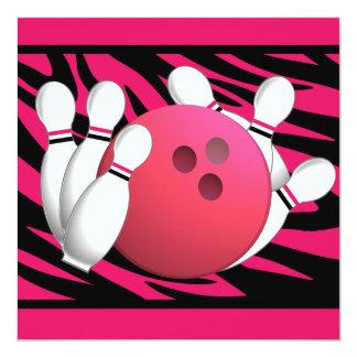 Bowling Birthday Neon Pink and Zebra Stripes Custom Invitations