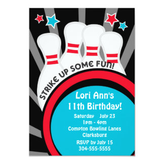 Bowling Birthday Party 5x7 Paper Invitation Card