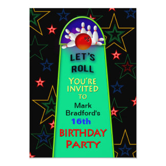 Bowling Birthday Party - 5x7 - Personalize Name Card