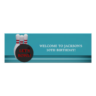 Bowling Birthday Party Banner Poster