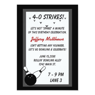 Bowling Birthday Party Black Grey Age customizable Card