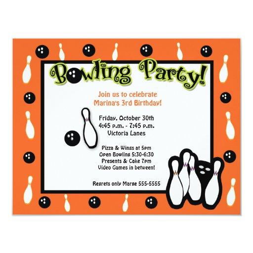 BOWLING BIRTHDAY PARTY Bowl Orange Card