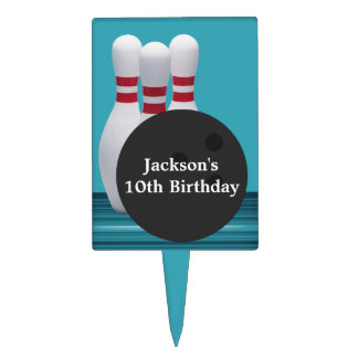 Bowling Birthday Party Cake Topper