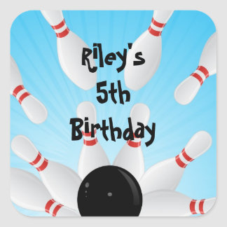 Bowling Birthday Party Favor Labels