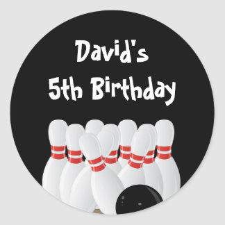 Bowling Birthday Party Favor Labels Classic Round Sticker
