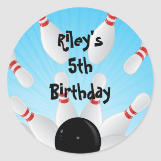 Bowling Birthday Party Favor Labels Stickers
