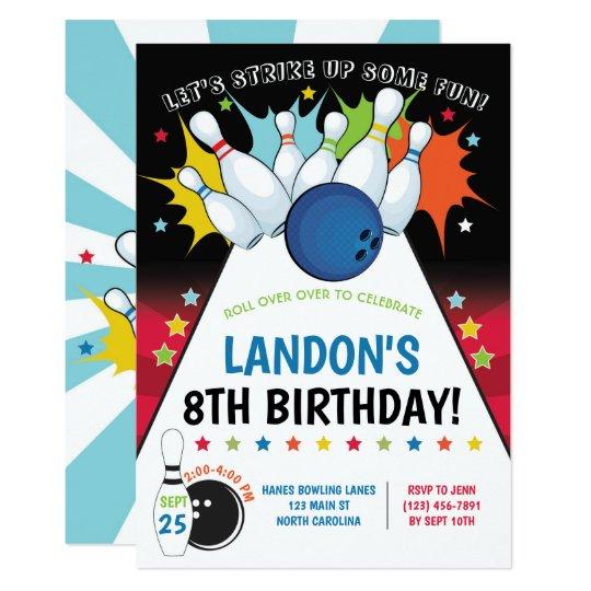 bowling birthday party invitation  boy invitation