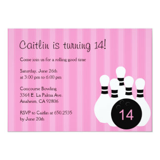Bowling Birthday Party Invitation - Pink