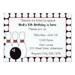 """Bowling Birthday party invitation red and black 5"""" X 7"""" Invitation Card"""