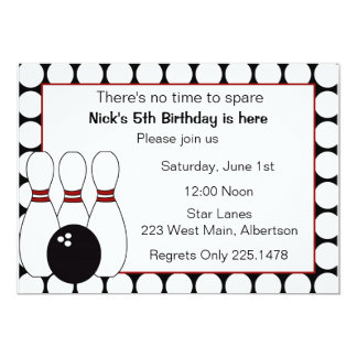 Bowling Birthday party invitation red and black
