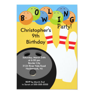 Bowling Birthday Party Invitation Retro
