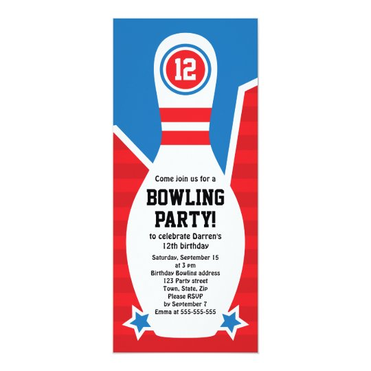 Bowling birthday party invitation with pin | Zazzle
