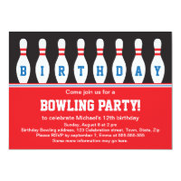 Bowling birthday party invitations announcements zazzle bowling birthday party invitation with pins filmwisefo Choice Image