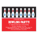 """Bowling birthday party invitation with pins 5"""" x 7"""" invitation card"""