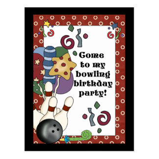 Bowling Birthday Party Invitations Post Card