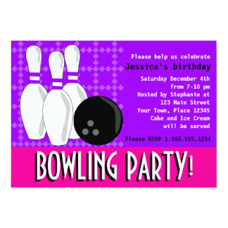 Bowling Birthday Party Invite - Pink and Purple