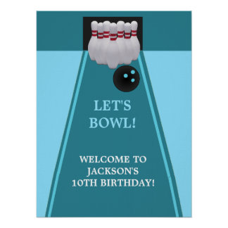 Bowling Birthday Party Poster