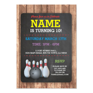 Bowling Birthday Party Tenpin Boys Girls Invite