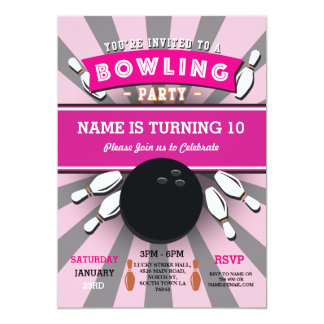 Bowling Birthday Party Tenpin Girls Pink Invite