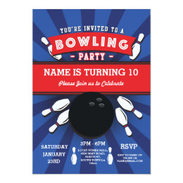 Kids bowling party invitations announcements zazzle bowling birthday party tenpin lucky strike invite filmwisefo Choice Image