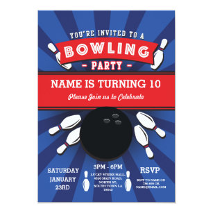 Kids bowling party invitations announcements zazzle bowling birthday party tenpin lucky strike invite filmwisefo