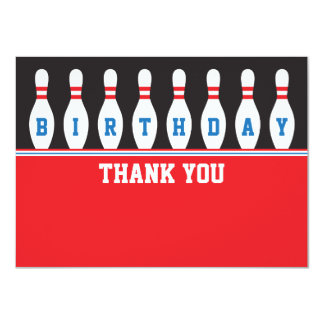 Bowling birthday party thank you thanks card