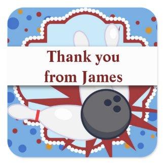 Bowling birthday party thankyou sticker zazzle_sticker