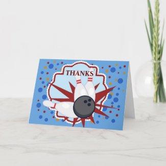 Bowling birthday thankyou card zazzle_card