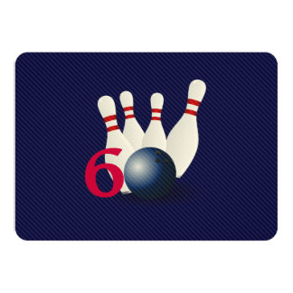 Bowling, bowler 60th Birthday Invitation. Card