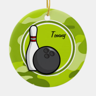 Bowling; bright green camo, camouflage christmas tree ornaments