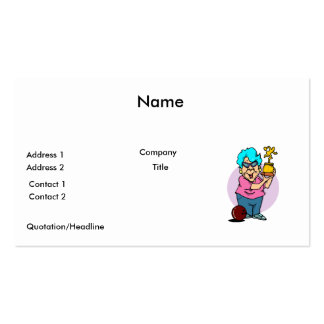 bowling champ granny cartoon business card templates