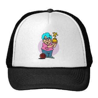 bowling champ granny cartoon trucker hat